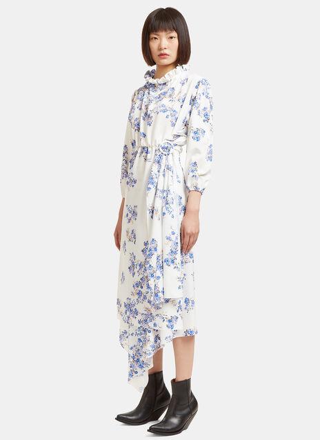 Mid-Length Wrap Skirt Floral Frill Dress