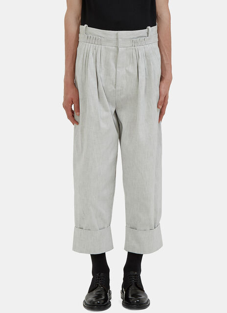 Oversized Pleated Denim Balloon Pants
