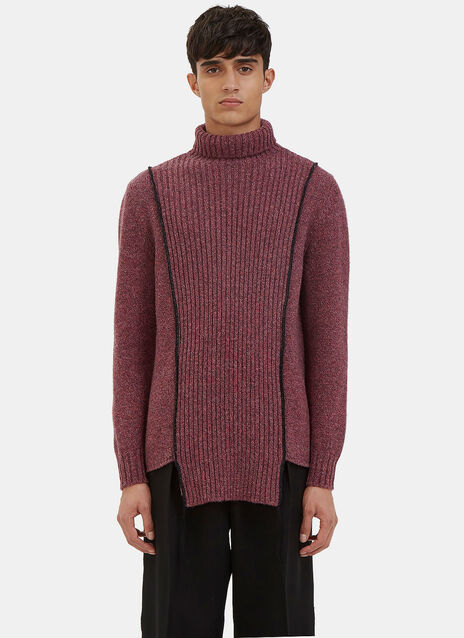 Oversized Serged Stitch Roll Neck Sweater