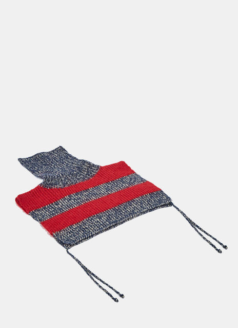 Striped Knit Roll Neck Scarf