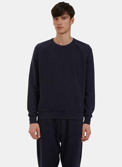 Reverse-Side Loopback Fleeced Crew Neck Sweater