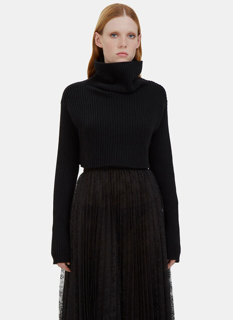 Cropped Roll Neck Ribbed Sweater