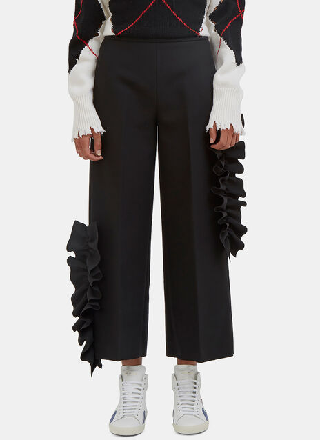Ruffled Wide Leg Cropped Pants