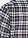 Rose Appliqué Cuffed Plaid Shirt