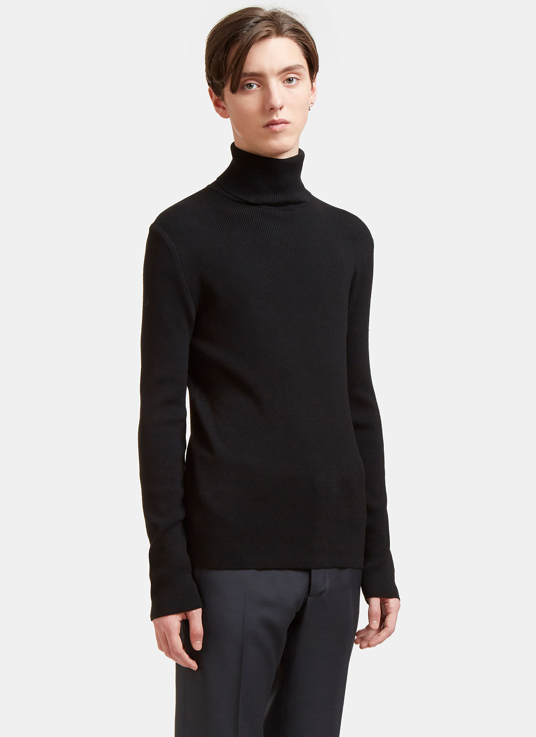 AIEZEN Men's Ribbed Polo Neck Sweater from SS15 in Black