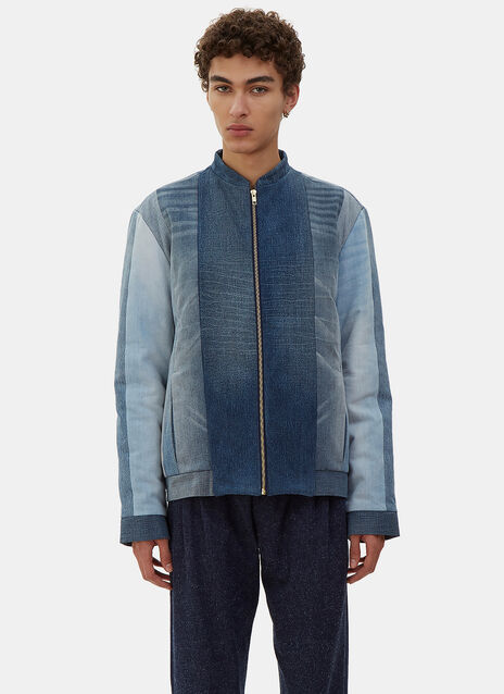 Quilted Denim Patchwork Bomber Jacket