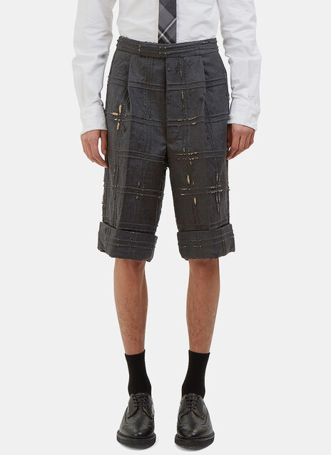 Oversized Distressed Piped Check Shorts