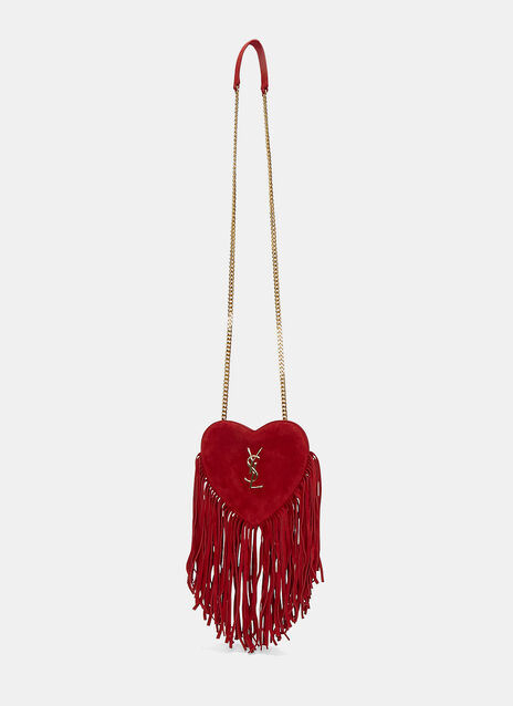 Love Fringed Suede Heart Bag