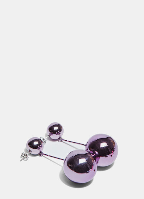 Metallic Double Sphere Drop Stud Earrings