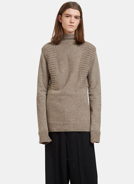 Oversized Roll Neck Contrast Knit Sweater