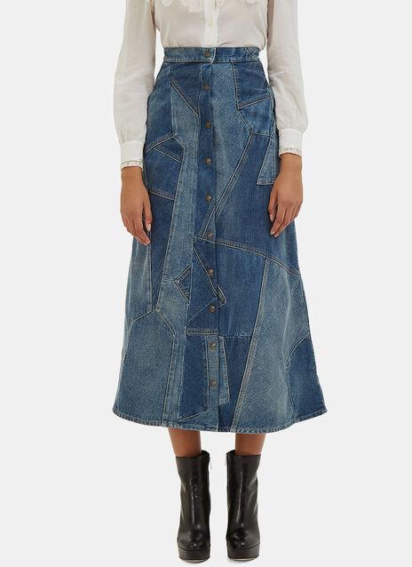 A-Line Patchwork Denim Skirt