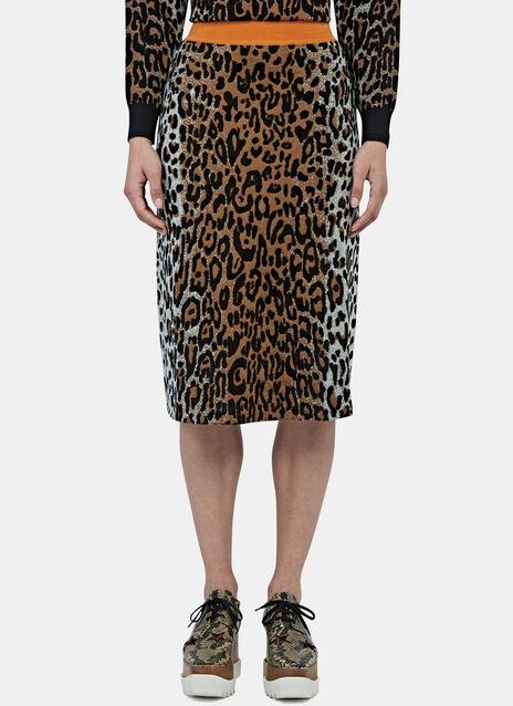 A-Line Leopard Print Knit Skirt