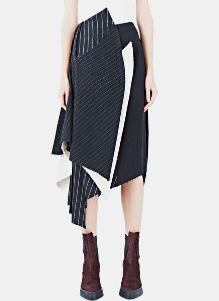Image of Aganovich Layered Pinstripe Skirt