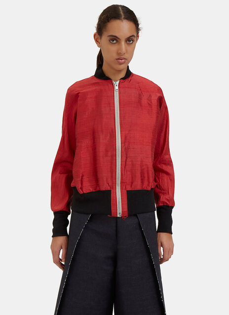 Raw Silk Bomber Jacket