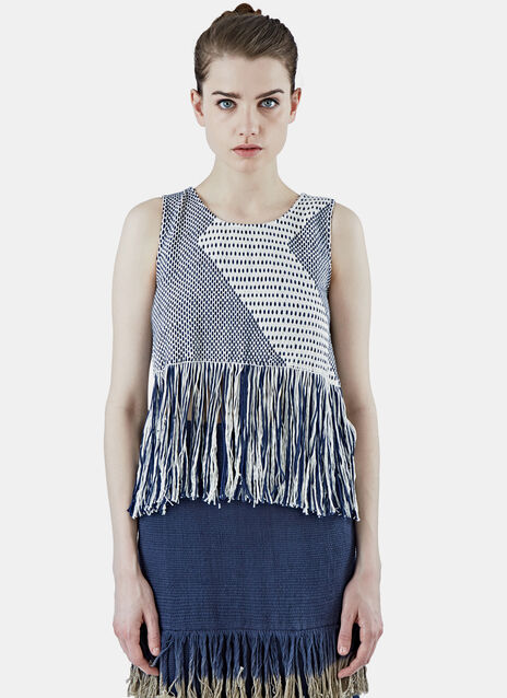 Zigzag Woven Fringed Tank Top