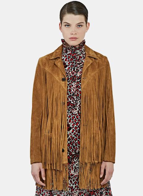Long Fringed Suede Leather Jacket