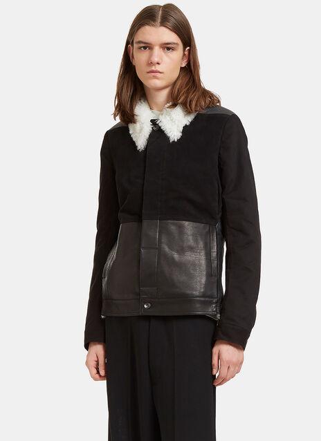 Shearling Contrast Sliced Worker Jacket