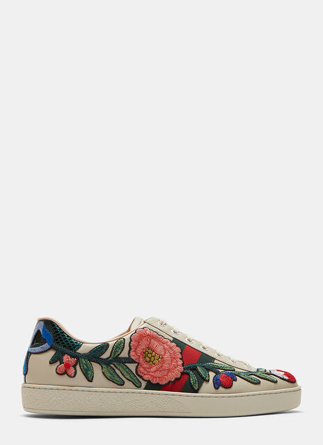 Embroidered Floral Patch Sneakers