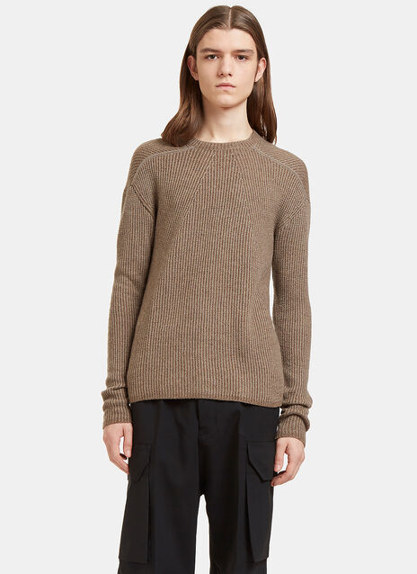 Biker Level Ribbed Knit Sweater