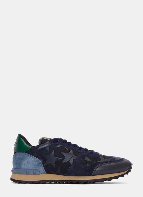 Star Appliqué Contrast Panel Stud Sneakers
