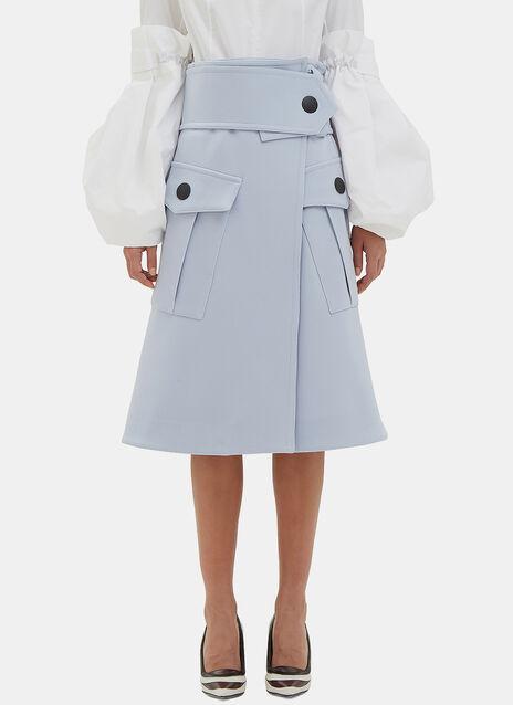 Mid-Length Wool Wrap Skirt