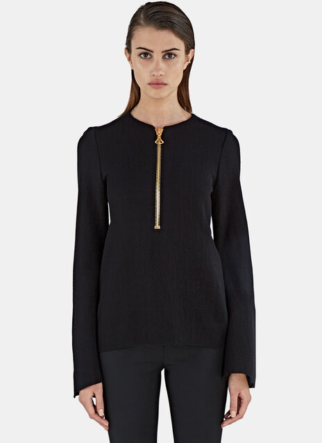 Minnelli Zipped Crêpe Rib Sweater
