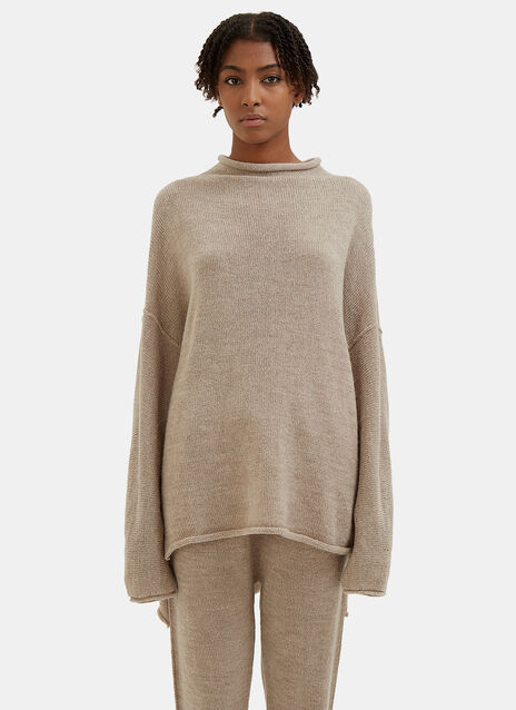 Oversized Knitted Boat Neck Sweater