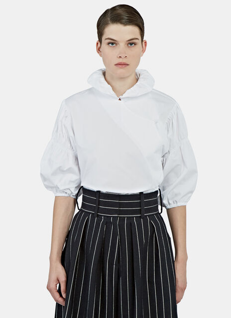 Ruched Sleeve Fan Collared Blouse