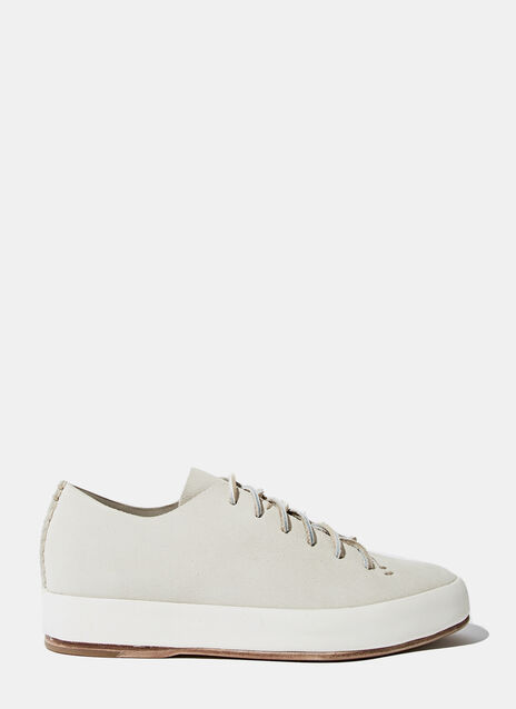 Feit Womens Handsewn Grey Suede Low Sneakers