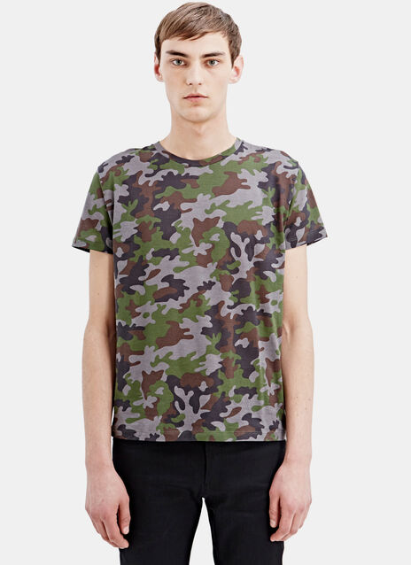Saint Laurent Printed Camouflage T-Shirt