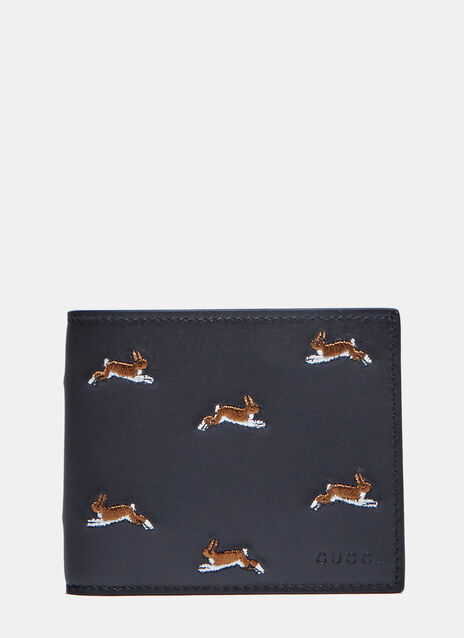 Hare Embroidered Basic Fold Wallet