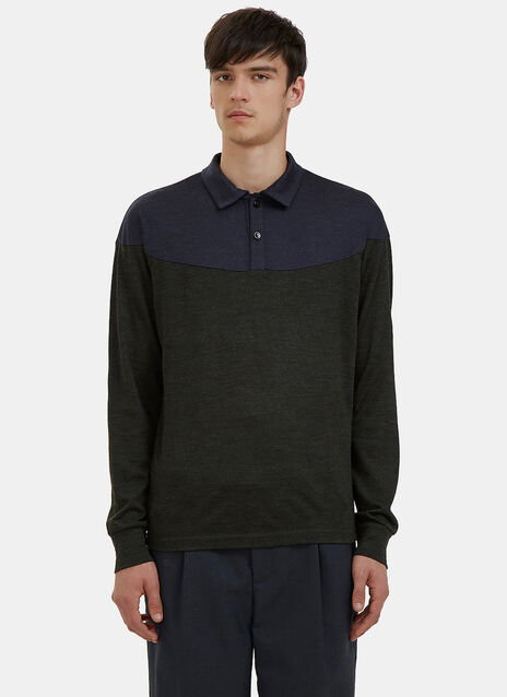 Bi-Colour Polo Neck Sweater