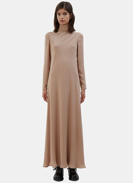 Long Roll Neck Crêpe de Chine Dress