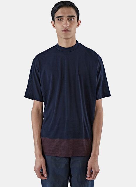 Contrast Hem Roll Neck T-Shirt