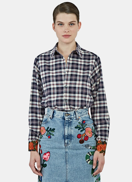 Rose Appliqué Cuffed Plaid Shirt