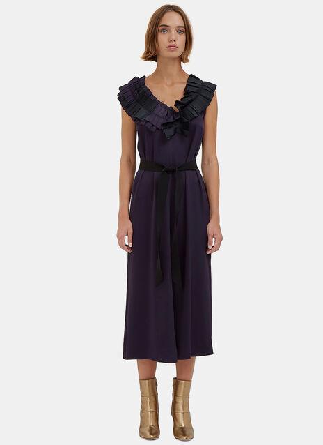 Long Satin Ruffled Dress