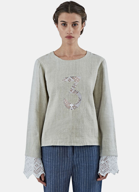 Crochet Lace 3 Linen Top