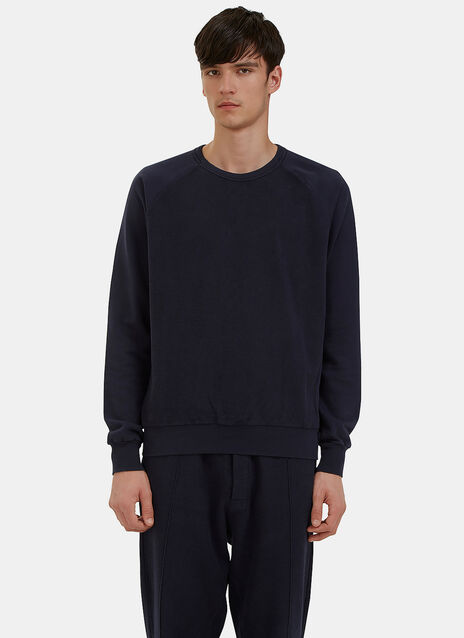 Reverse-Side Loopback Fleeced Crew Neck Sweater