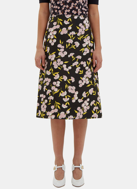 A-Line Floral Slit Skirt