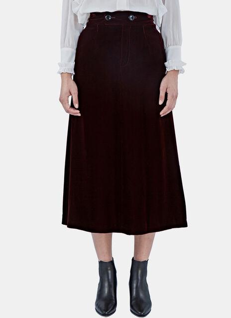 Mid-Length Velvet Skirt