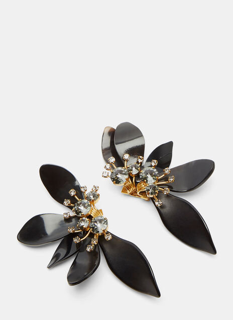 Horn Petal Crystal Flower Earrings