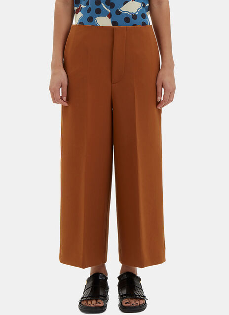 Wide Leg Double-Faced Crepe Culottes
