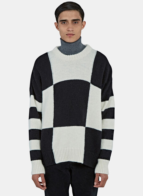 Oversized Checked Crew Neck Sweater