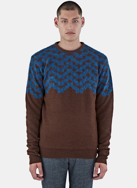 Geometric Hairy Knit Sweater