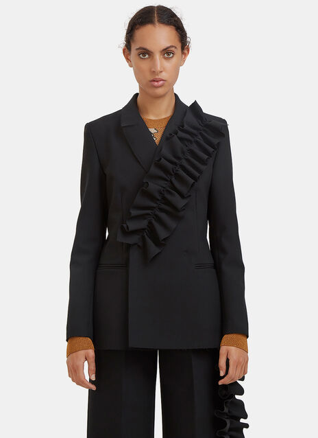 Ruffled Double-Breasted Blazer Jacket