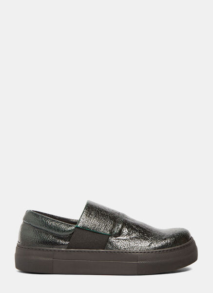 Image of Barny Nakhle Chunky Cracked Leather Sneakers