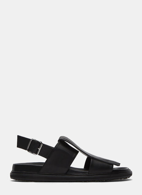 Fringed Flap Leather Sandals