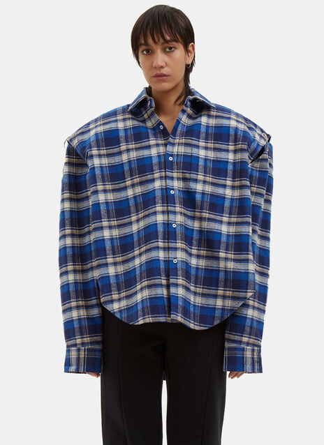 Football Shouldered Checked Flannel Shirt