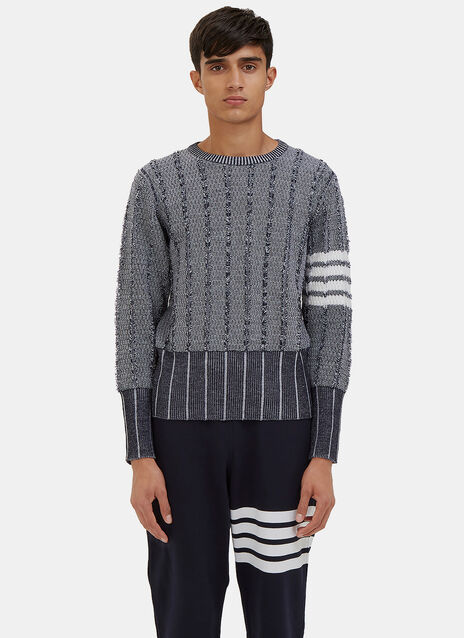 Oxford Waffled Knit Crew Neck Sweater