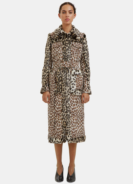 Long Faux Leopard Print Fur Coat